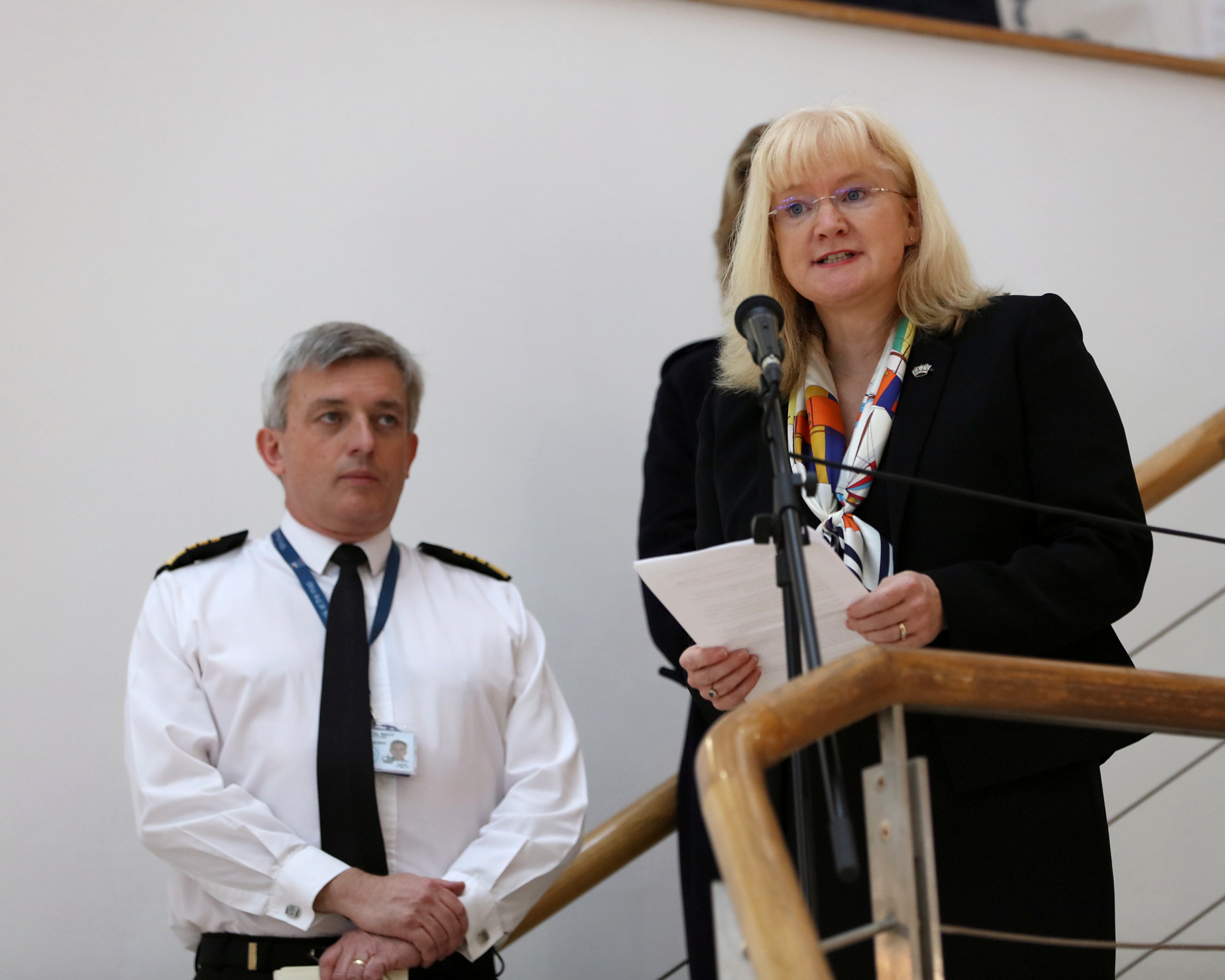 NFF LAUNCH NEW BRANDING AND STRATEGY  Pictured: Director of NFF, Anna Wright, addressing personnel at NCHQ  The Naval Families Federation (NFF) launched their new branding and strategy today, 20th May 2016, in the lower atrium of NCHQ. The First Sea Lord gave an opening address along with the Director of NFF, Anna Wright.   The Armed Forces Minister, Penny Mordaunt MP, was also in attendance.  Image: L(Phot) Paul Hall