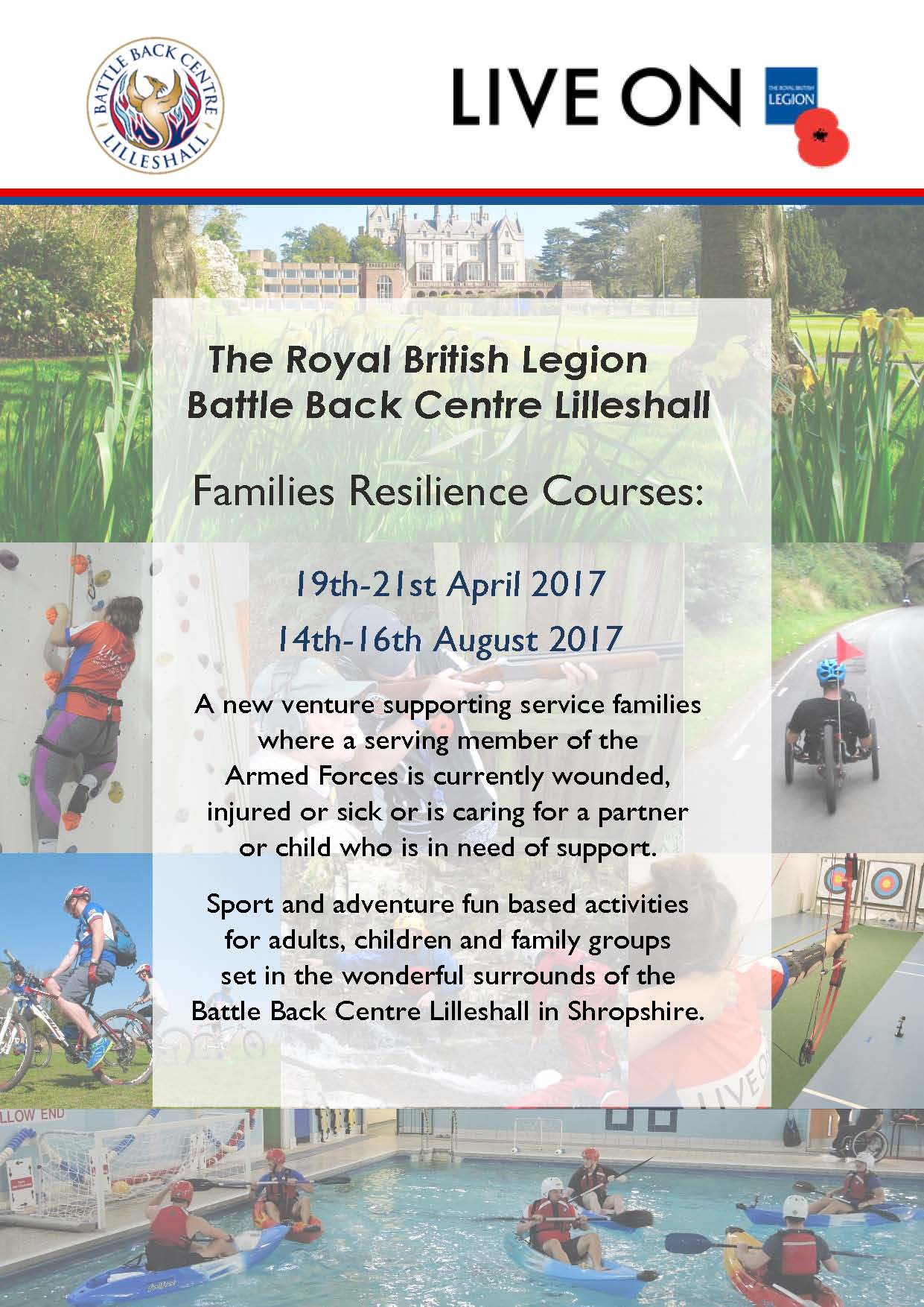 Battle Back Centre Lilleshall - Families Resilience Course Poster