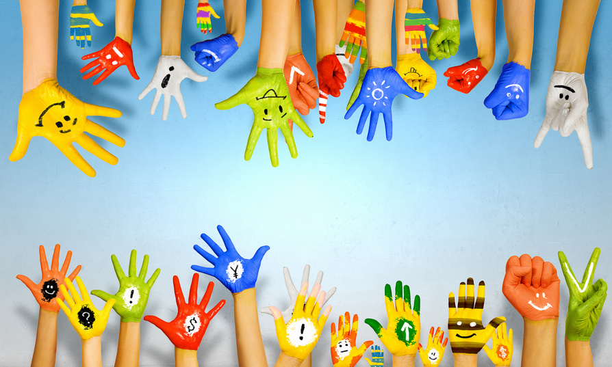 Hands with faces and exclamations painted on them