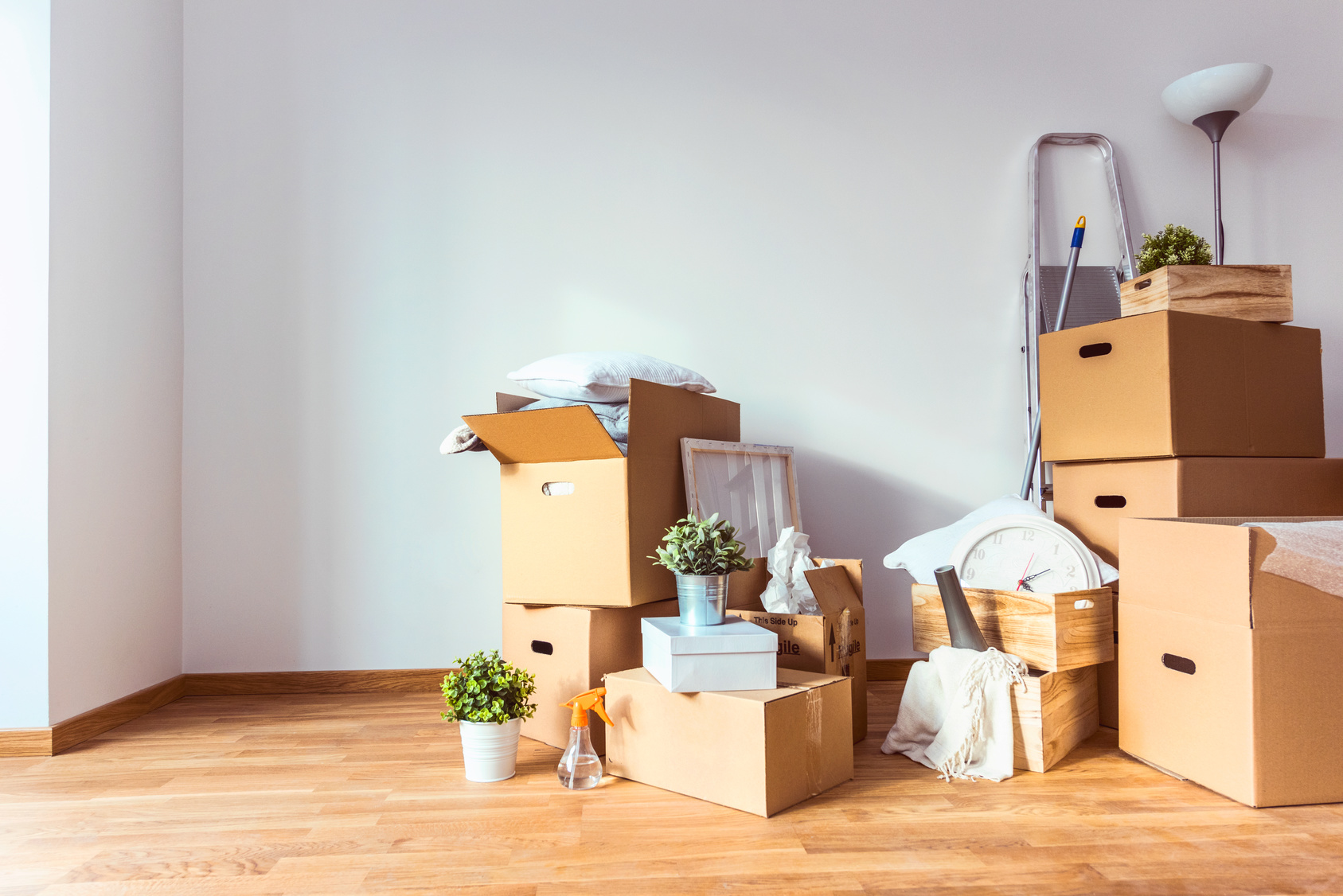 Cardboard boxes and cleaning things for moving into a new home